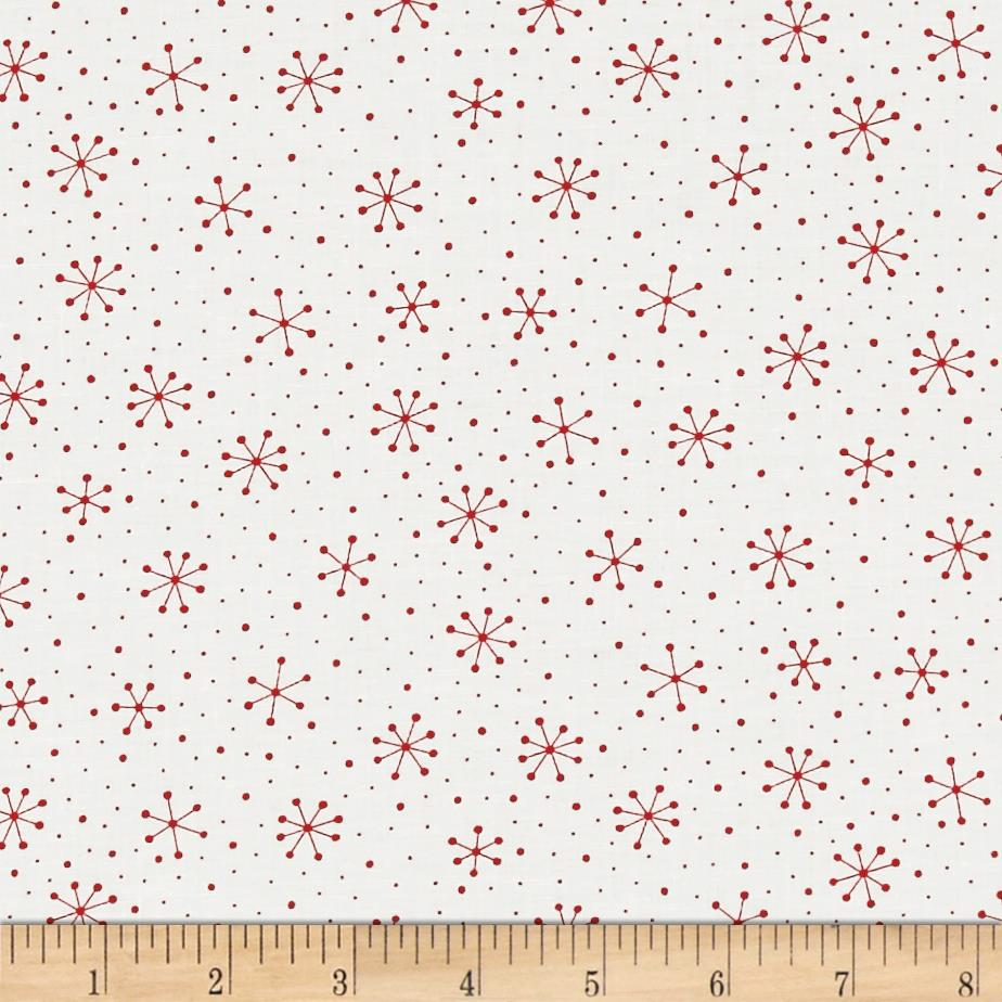 Moda Red Dot Green Dash Snowflakes Dots Winter White/Red Fabric