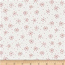 Moda Red Dot Green Dash Snowflakes Dots Winter White/Red