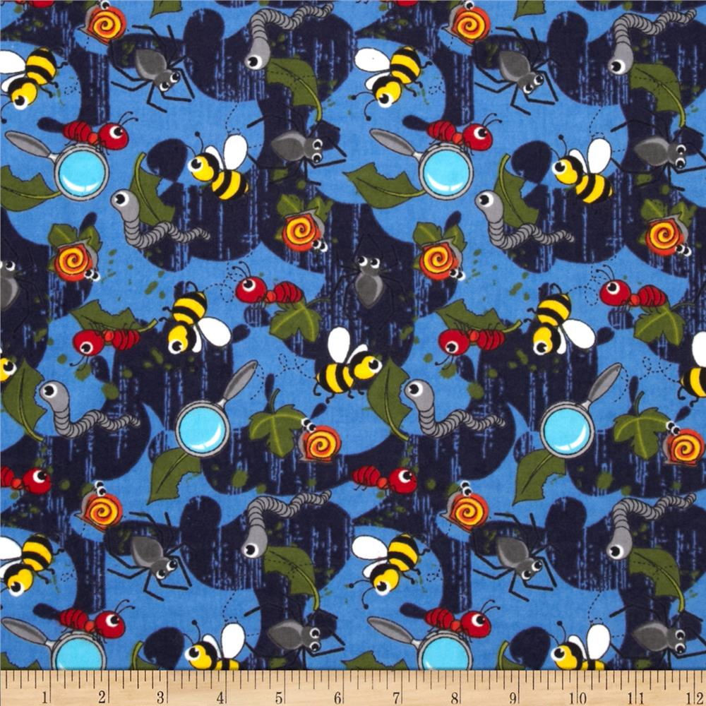 Camelot Flannel Tossed Bugs Blue
