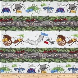 Kanvas Crawly Critters Critter Stripe Grey Fabric