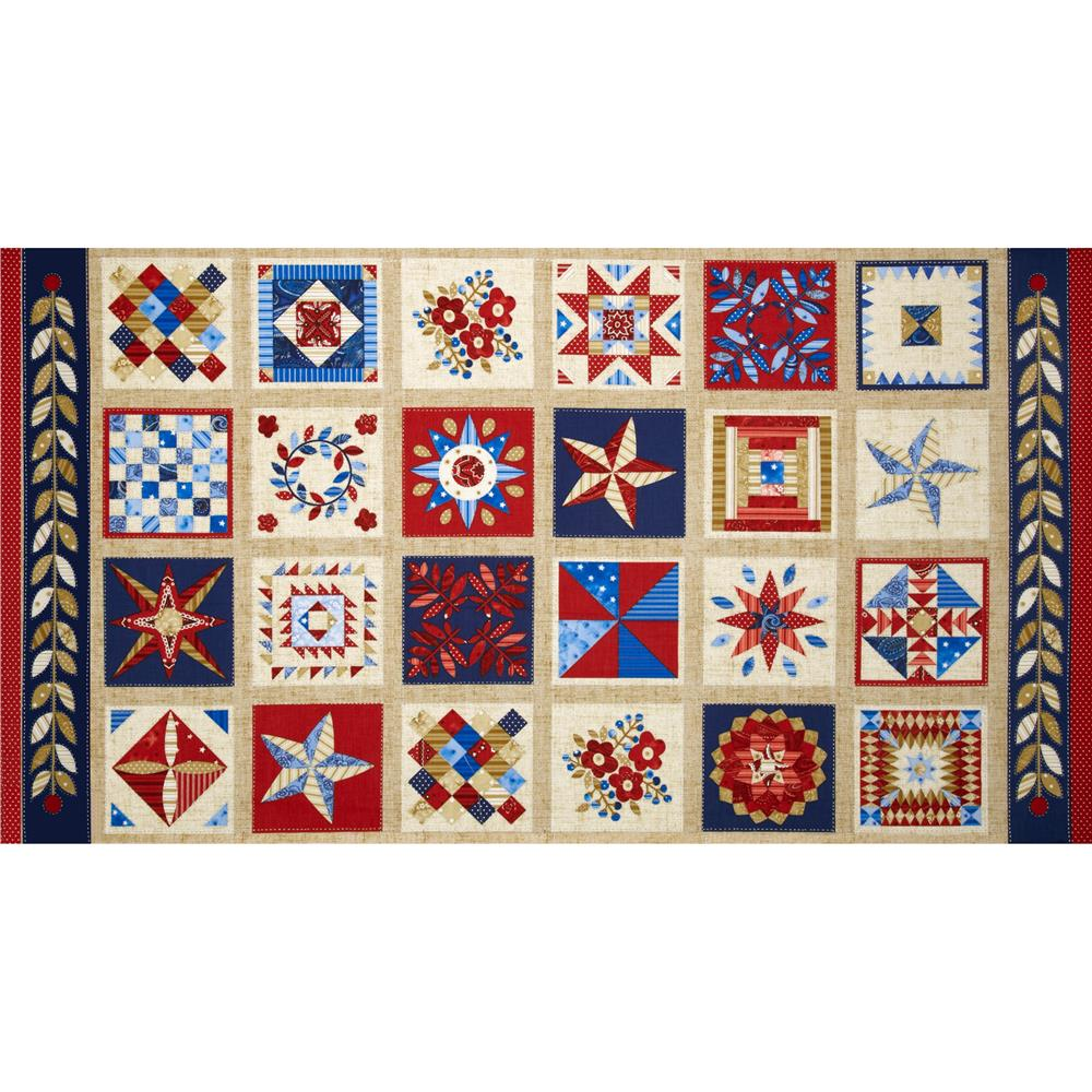 American Beauty Quilt Blocks Blue/Red