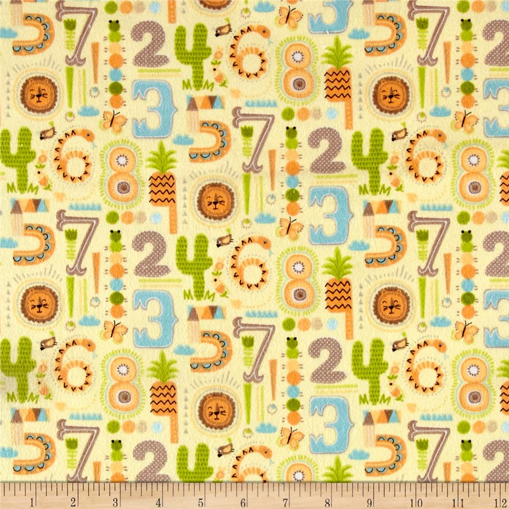 Zoovenirs Flannel Numbers Yellow   Fabric