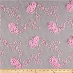 Bella Sheer Lace Rosette Pink
