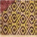 Double Sided Quilted Indian Batik Ikat Brown/Coral/Yellow