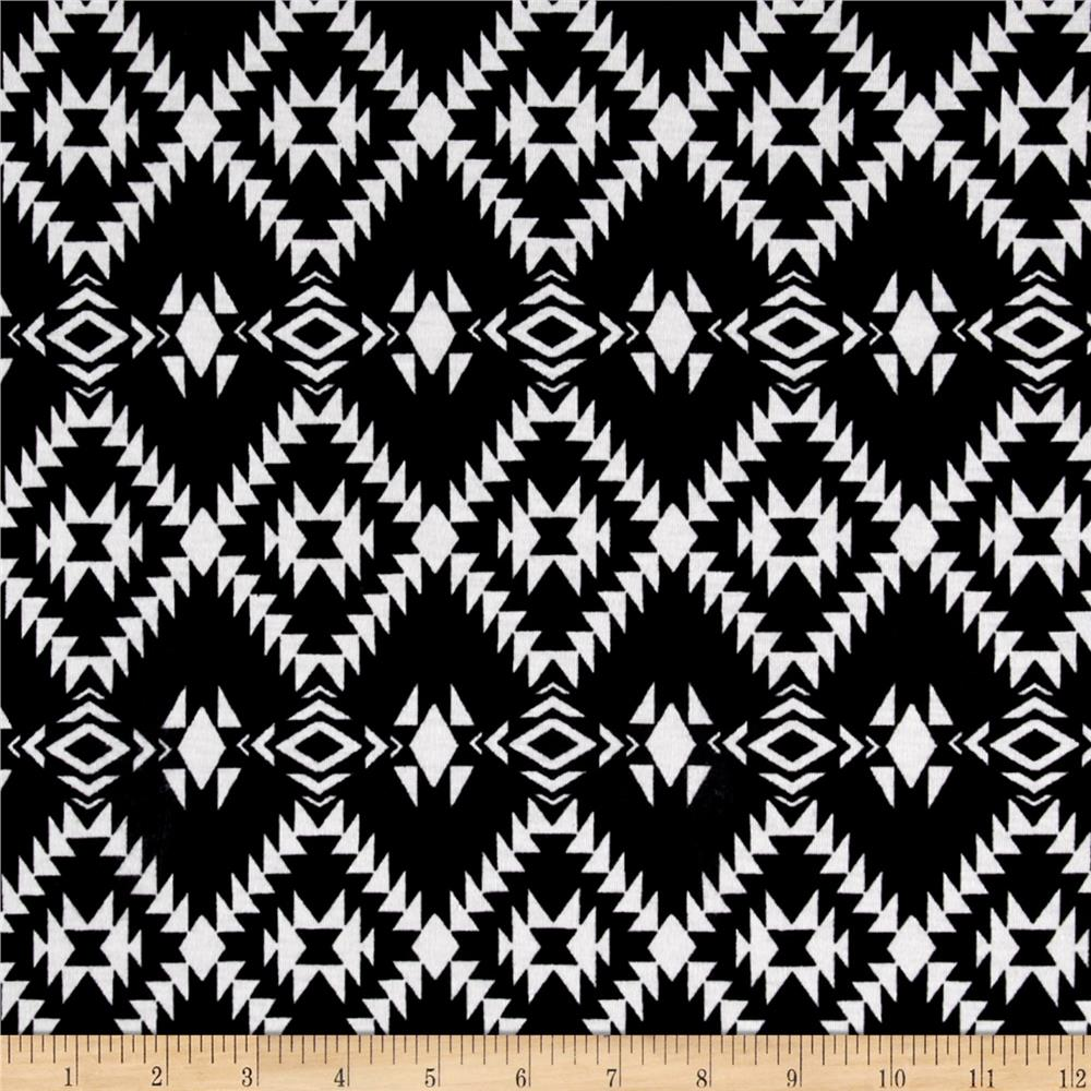Polyester Jersey Knit Aztec Diamonds Black/White