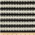 Designer Stretch Open Weave Sweater Knit Stripes Ivory/Black