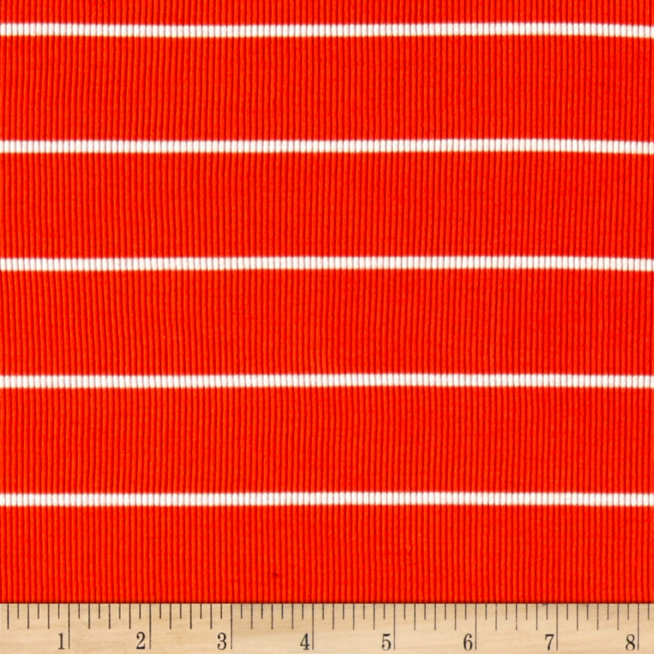 Rib 2x1 Knit Mini White Stripe on Orange Fabric 0463307