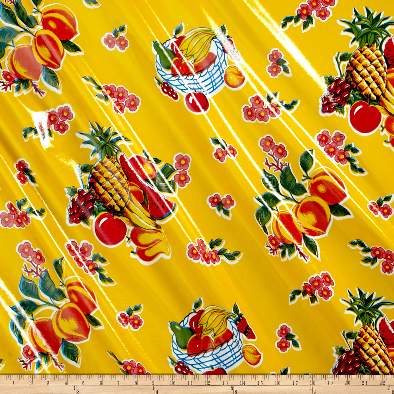 Oilcloth Cane Yellow Fabric by Oilcloth International in USA