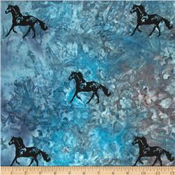 Indian Batik Animal Planet Horse Blue