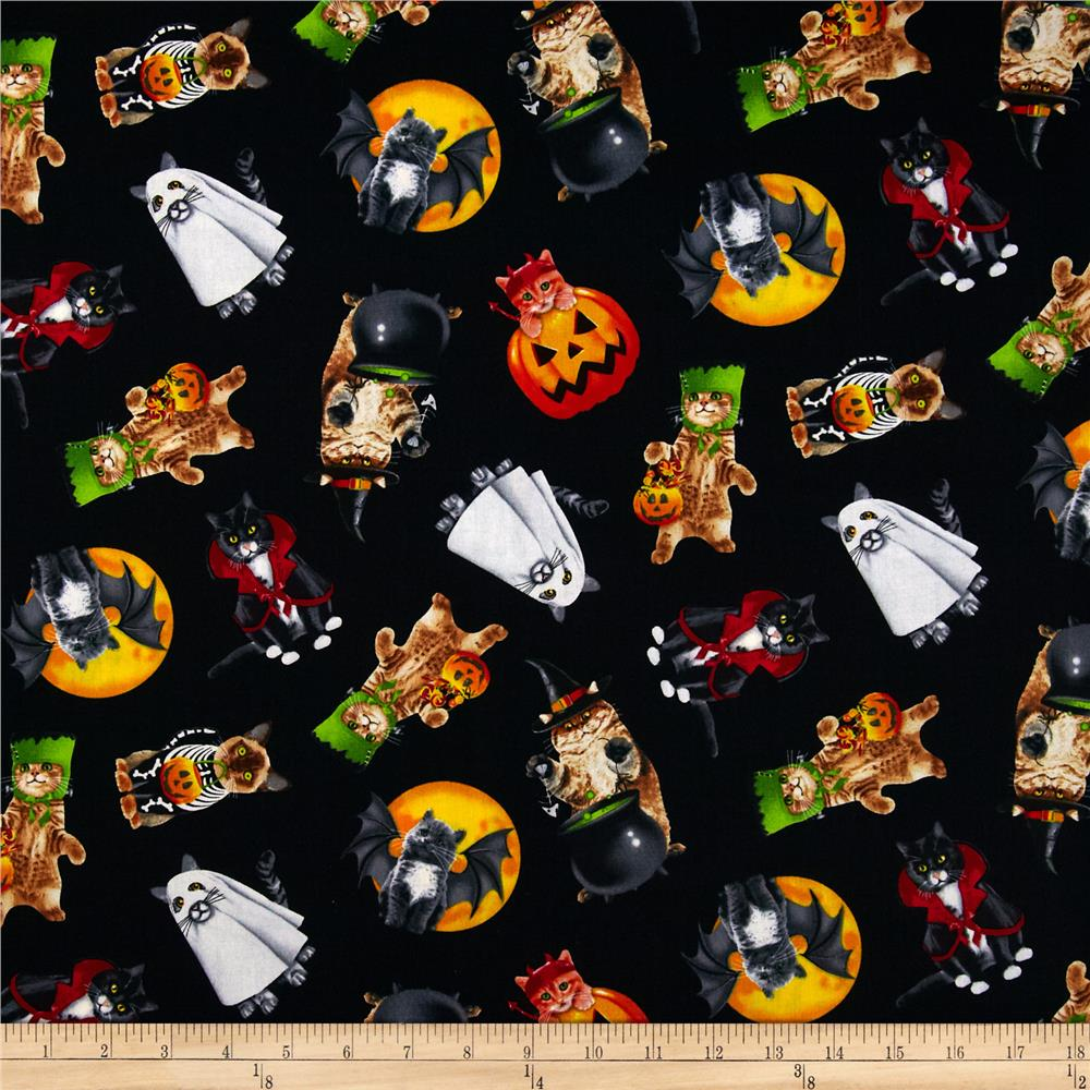 Timeless Treasures Halloween Cats In Costumes Black