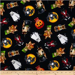 Timeless Treasures Halloween Cats In Costumes Black Fabric