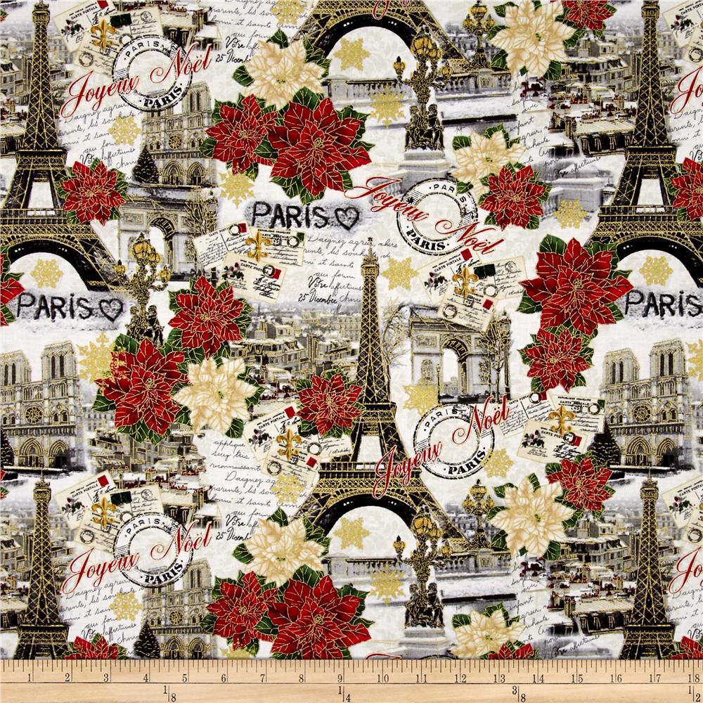 Timeless Treasures Joyeux Noel Metallic Paris Christmas Multi