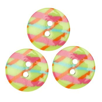 Fashion Button 3/4'' Confetti Lines Limes