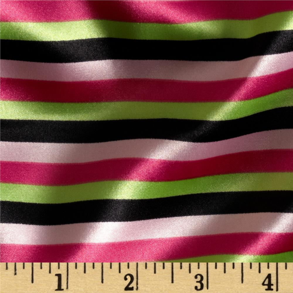 Charmeuse Satin Stripe Hot Pink/Lime