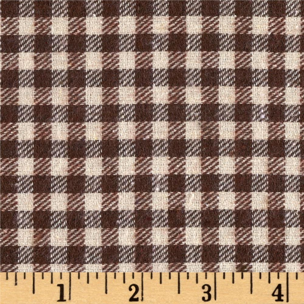 Yarn Dyed Flannel Mini Plaid Brown/Ivory Fabric