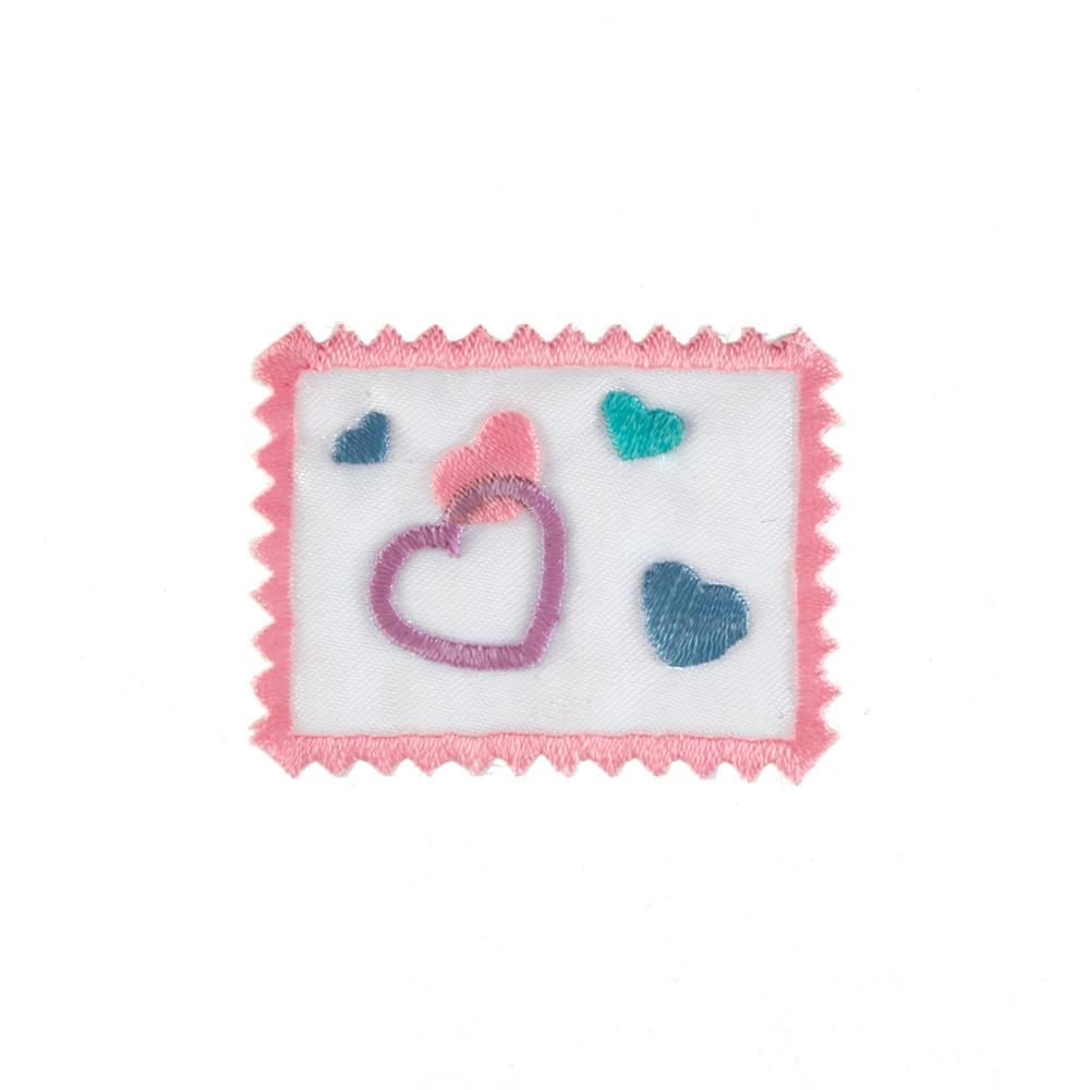 Heart Stamp Applique Pink