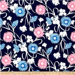ITY Knit Sunflower Navy Electric Pink