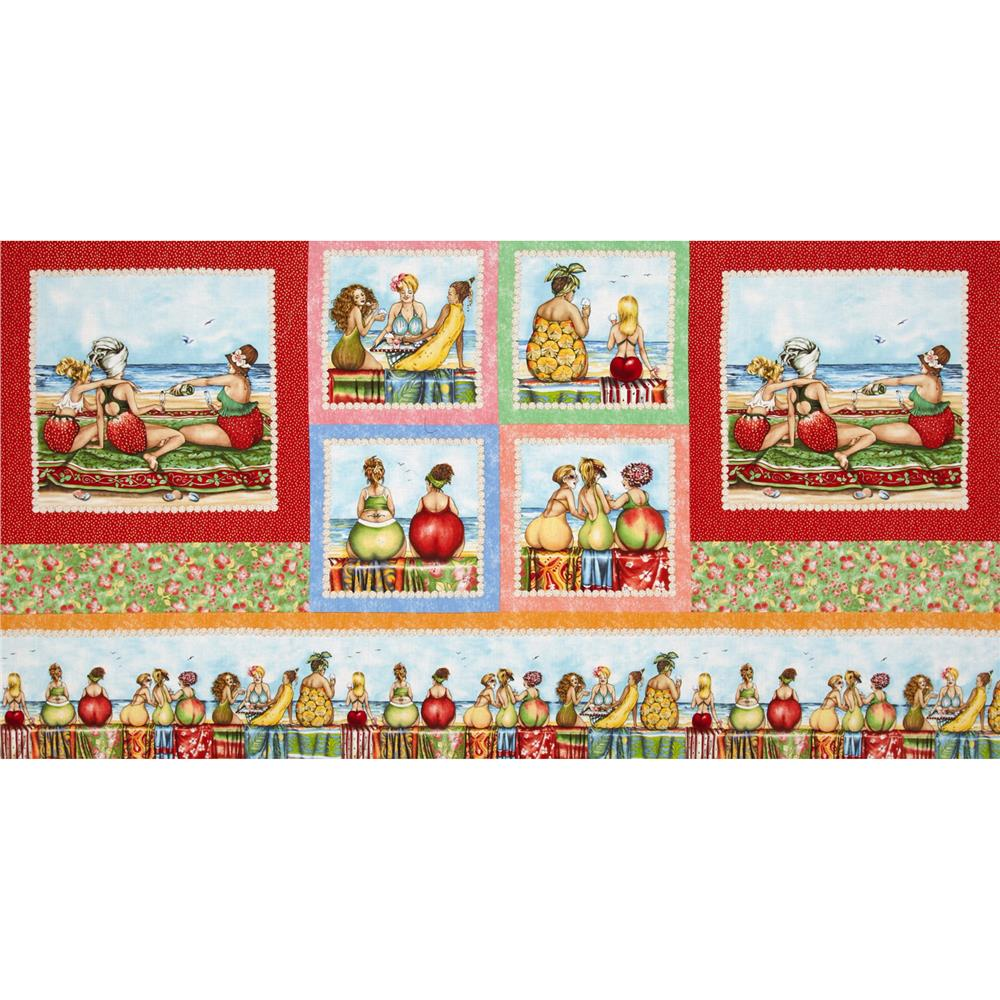 Fruit Ladies Patchwork Border Panel Multi