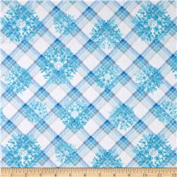 Winter Wonderland Flannel Plaid Snowflake Blue