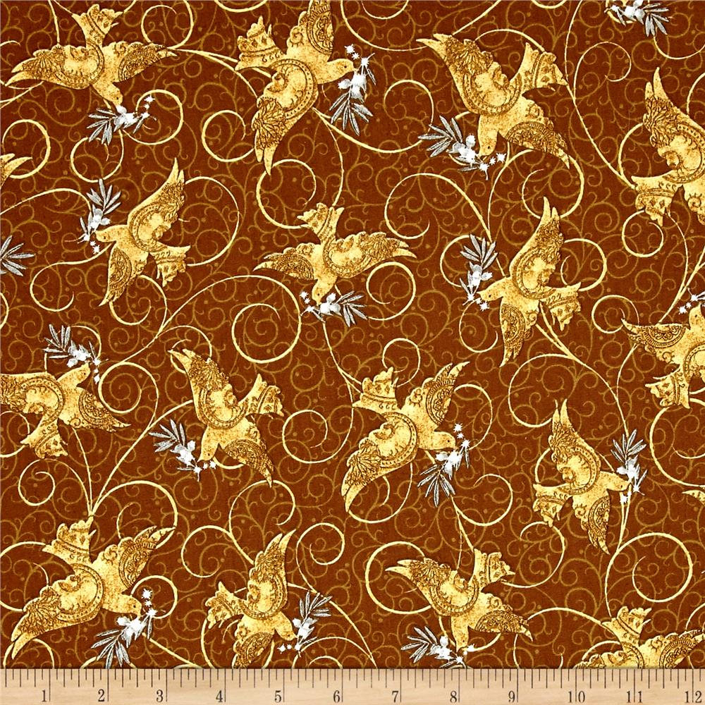 A Golden Holiday Doves Brown Fabric