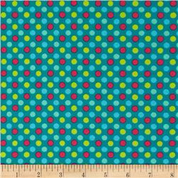Lecien Spicy Scrap Multi Dot Turquoise