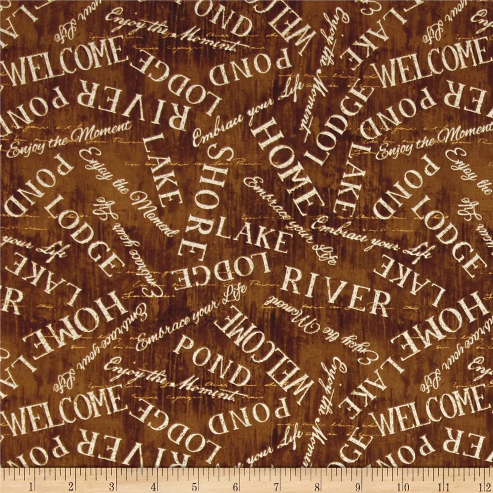 Lakeside Retreat Words Allover Brown