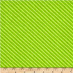 Moda Dot .Dot.Dash-! Diagonal Stripe Green