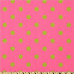 Premier Prints Polka Dot Pink/Chartreuse Fabric