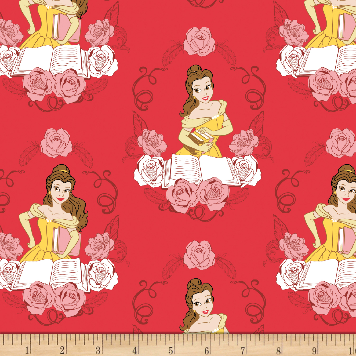 Disney Beauty and the Beast Belle Ruby Fabric by Eugene in USA