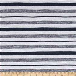 Designer Jersey Knit Stripes Blueberry/White
