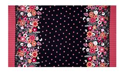 "Michael Miller Flutterby Floral Flutterby Double Border 38"" Panel Charcoal"