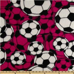Fleece Soccer Balls Magenta Fabric