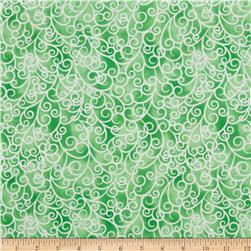 Petal Poetry Swirl Green Fabric