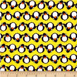 Rayon Jersey Knit Penguin Yellow
