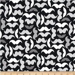 Kaufman Laguna Stretch Jersey Knit Mustaches Black/White Fabric