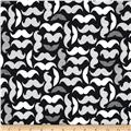 Kaufman Laguna Stretch Jersey Knit Mustaches Black/White