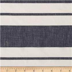 Cotton Linen Stripe  Navy/White