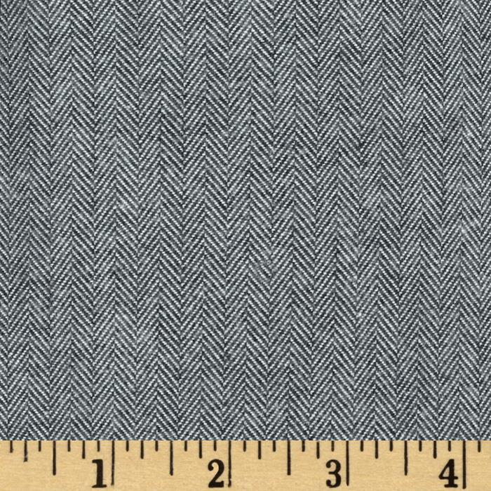 Kaufman Shetland Flannel Herringbone Grey Fabric By The Yard