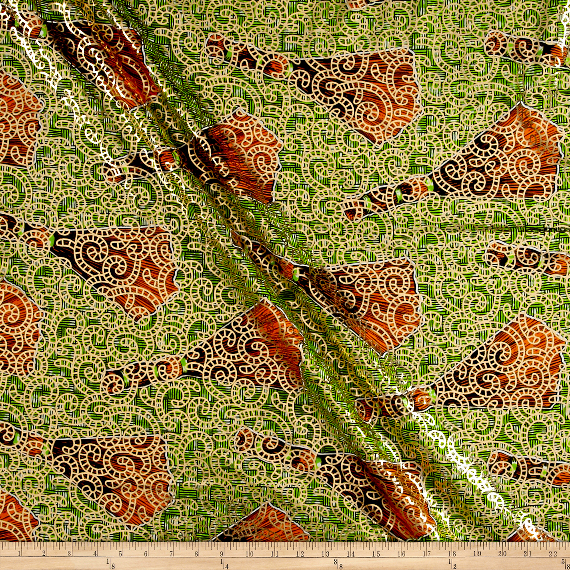 Supreme Osikani African Print Broadcloth 6 Yard Metallic Green/orange