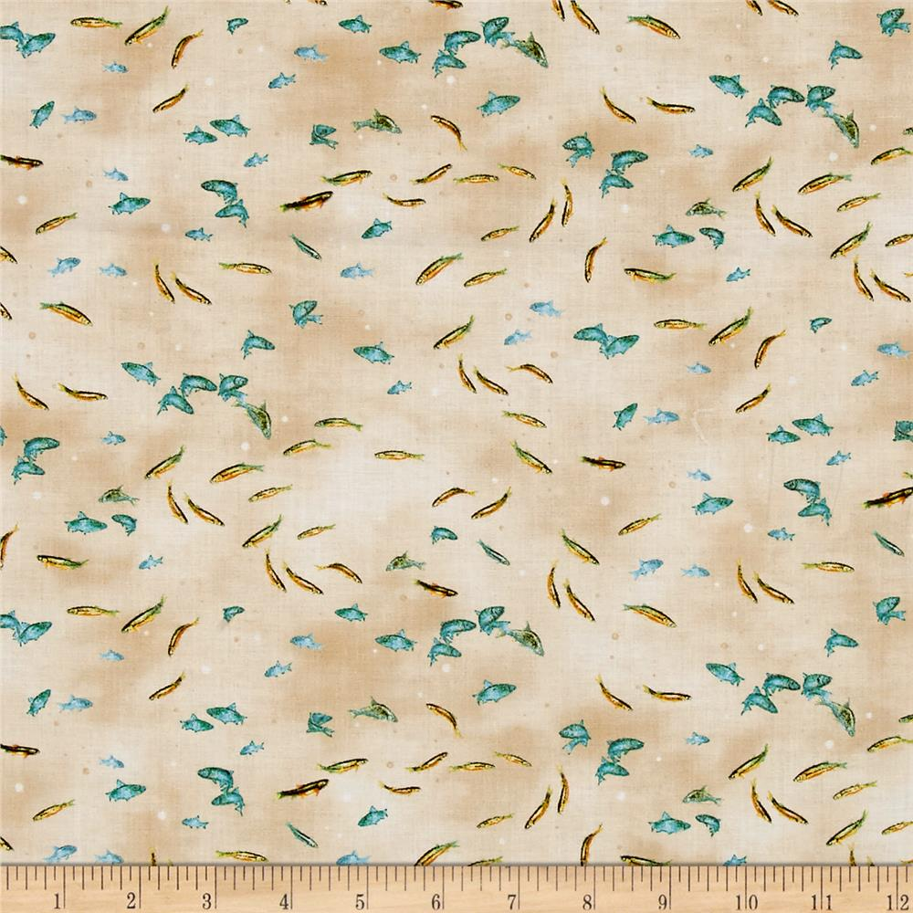 Qt fabrics so many fish so little time small fish cream for Fish fabric for quilting