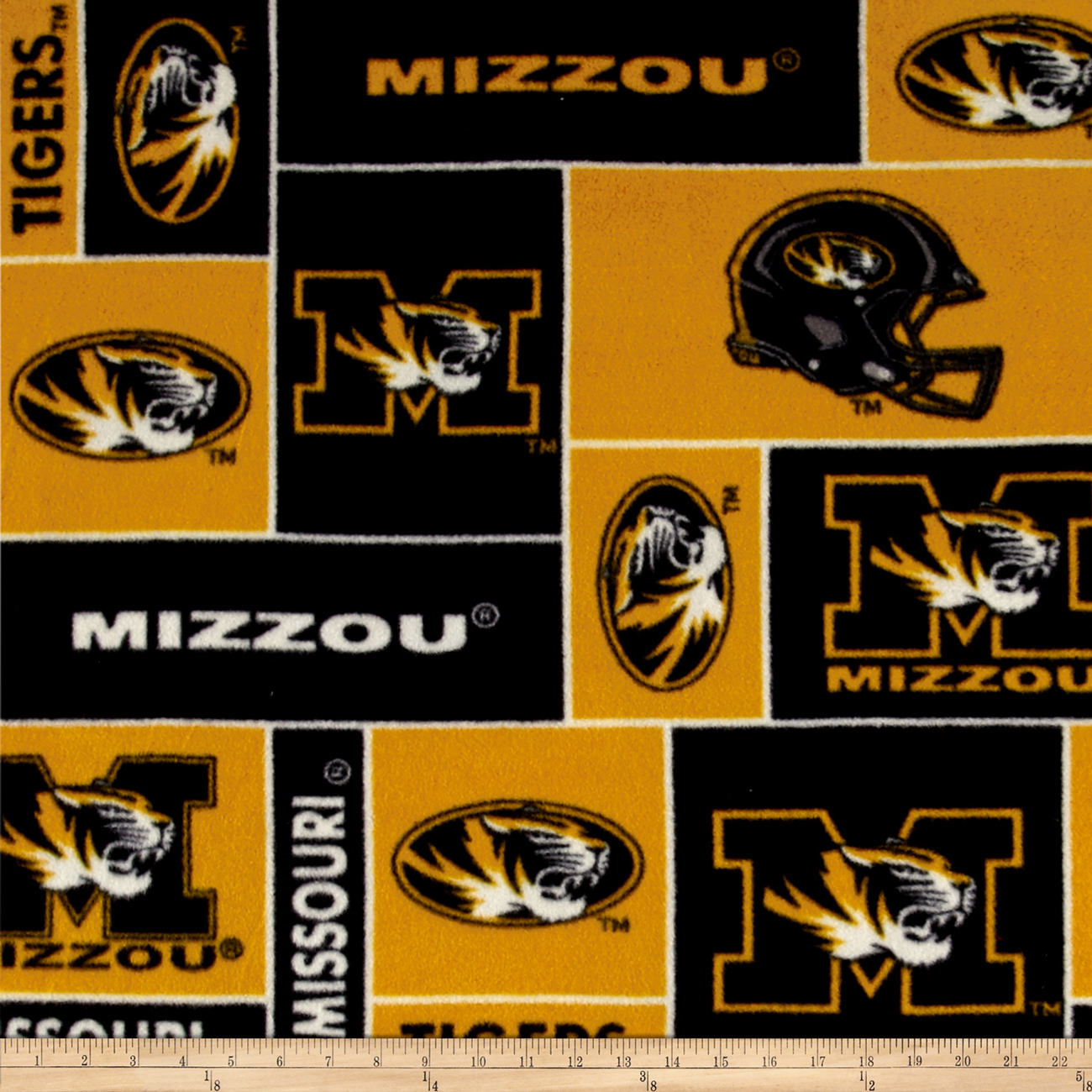 Collegiate Fleece University of Missouri Blocks Fabric