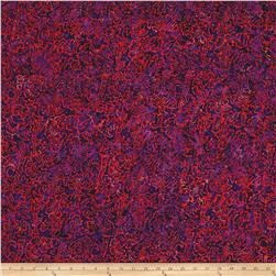 Primo Batiks Red Sky Geo Leaf Purple