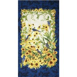 Timeless Treasures Blue Bird Metallic Panel Navy
