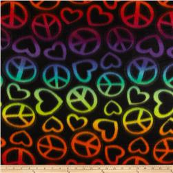 Fleece Print Peace Out Black