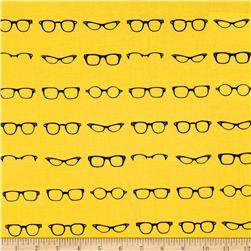 Riley Blake Geekly Chic Glasses Yellow Fabric
