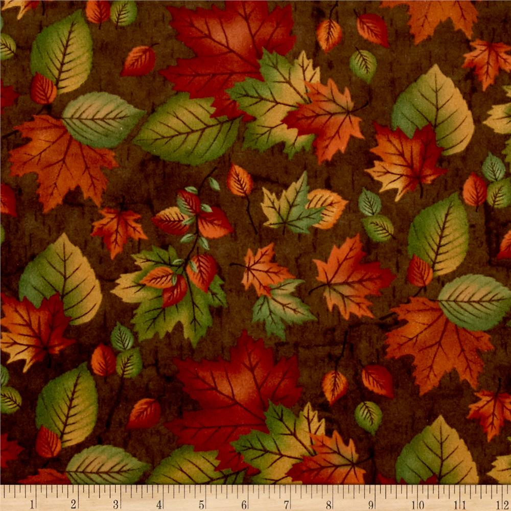 Moda Endangered Sanctuary Flannel Autumn Leaves Walnut