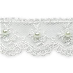 "1 3/8"" Vintage Lace with Pearls Trim White"
