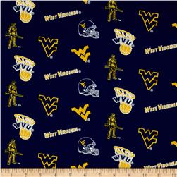 Collegiate Cotton Broadcloth West Virginia University Blue