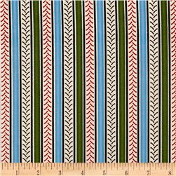 International Harvester Big Red Stripe Blue/Green Fabric