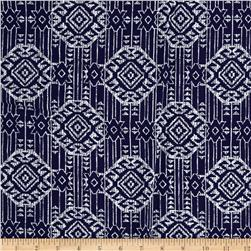 Rayon Challis Tribal White Dimond Shapes on Navy Blue